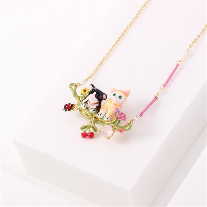 Warmhome Trendy Jewelry Enamel Glaze Copper Fashion Animal Series Black Yellow Cat For Women Necklace