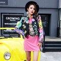 Super star moda feminina jaqueta de couro PU casacos roupa dancer mostrar desempenho DS trajes de dança palco cantora de boate bar