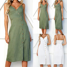 2019 Sexy Soild Beach Summer Dress Women Cotton Deep V Neck Buttons Off Shoulder Midi Sleeveless Dresses(China)