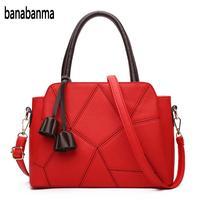Banabanma Stylish PU Leather Top Handle Satchel With Pendant Stitching Lichee Pattern Shoulder Bag Handbag For