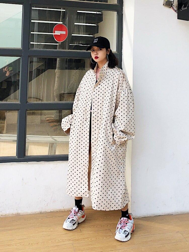 Long Jasmin Édition Manteaux 2019 blanc Intéressant Style Grande Tranchée Complète Lâche De Noir multi Mode point Nouveau Imprimer Vague 5nnwB6rxO
