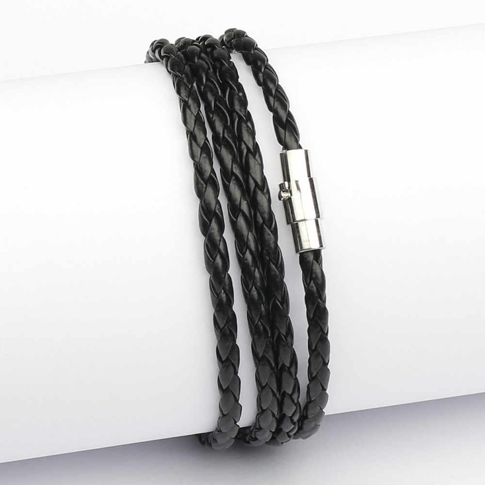 ホット販売スタイル 2019 最新の人気 4 サークル男性カフブレスレットヴィンテージ黒送料無料 11 色選択