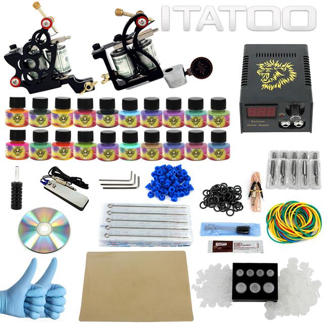 ITATOO Canetas Tatuagem Kit Máquina de Tatuagem Barato Conjunto Kit de Tatuagem Máquina de Tinta Suprimentos Arma Para Arma de Jóias Profissional TK1000006