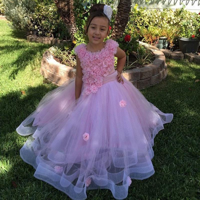 Princess Lace Appliques   Flowers   Kids Pageant Ball Gowns Puffy communion   dresses   for   girls     flower     girl     dresses   for weddings