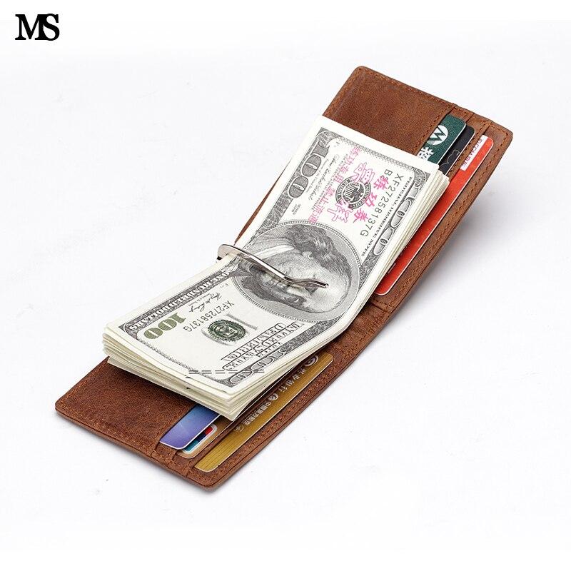 MS Free Shipping Crazy Horse originální kožené módní pánské peněženky Clip štíhlé peněženky Bifold Brown ID kreditní karty peněženka Brwon K310