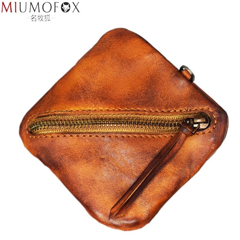 Coin Purse Women Genuine Leather Change Purse Zipper Small Wallet Vintage Card Holder Coin Holder Handmade Men Simple Money Bag
