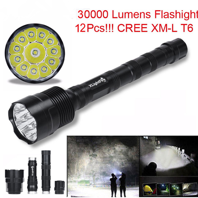 XLightFire zaklamp 30000 Lumens flashlight 12x CREE XML T6 5 Mode 18650 Super Bright LED Flashlight