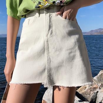 2190b72bf Las mujeres Mini falda verano Irregular Jean falda de moda dobladillo  deshilachado Faldas Mujer Denim de cintura alta falda de Saia vaqueros  femenina