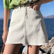 Summer Mini Skirt Women Irregular Jean Skirts Fashion Brushed Hem Skirts Female Solid Color High Waist Denim Skirt Woman trendy high waist solid color irregular mini shorts for women