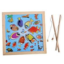 Забавная магнитная стержень головоломки модель деревянные ванна игры игрушка ребенка рыбалка