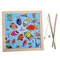Crianças De Madeira Crianças Brinquedo Modelo Divertido Banho De Vara De Pesca Magnética Set Brinquedo de Pesca Magnética Enigma Dos Desenhos Animados Do Bebê Brinquedo Jogo