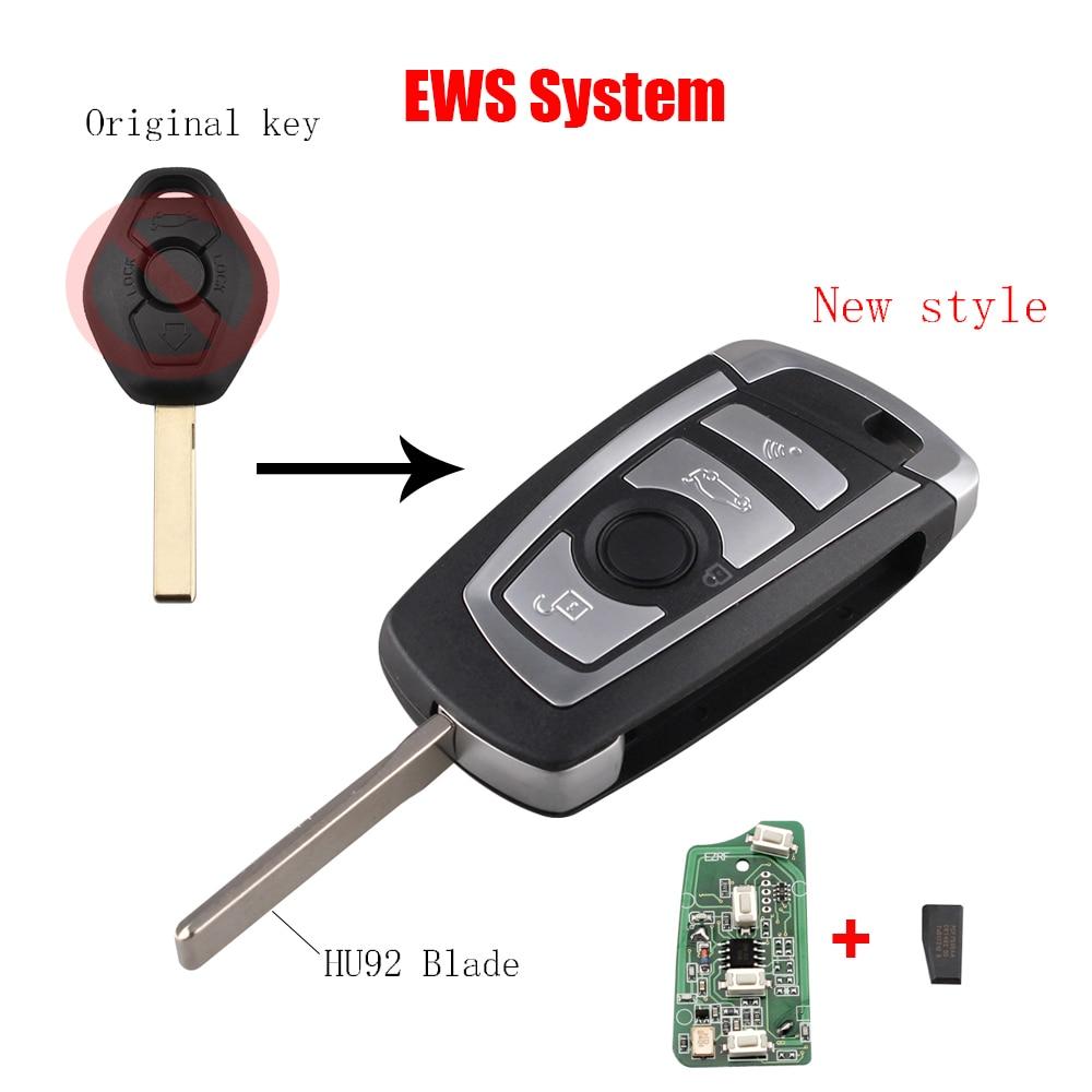 3Button Modified Flip 315/433Mhz Remote key For BMW EWS 325 330 318 525 530 540 E38 E39 E46 M5 X3 X5 HU92 ID44(7935) Chip