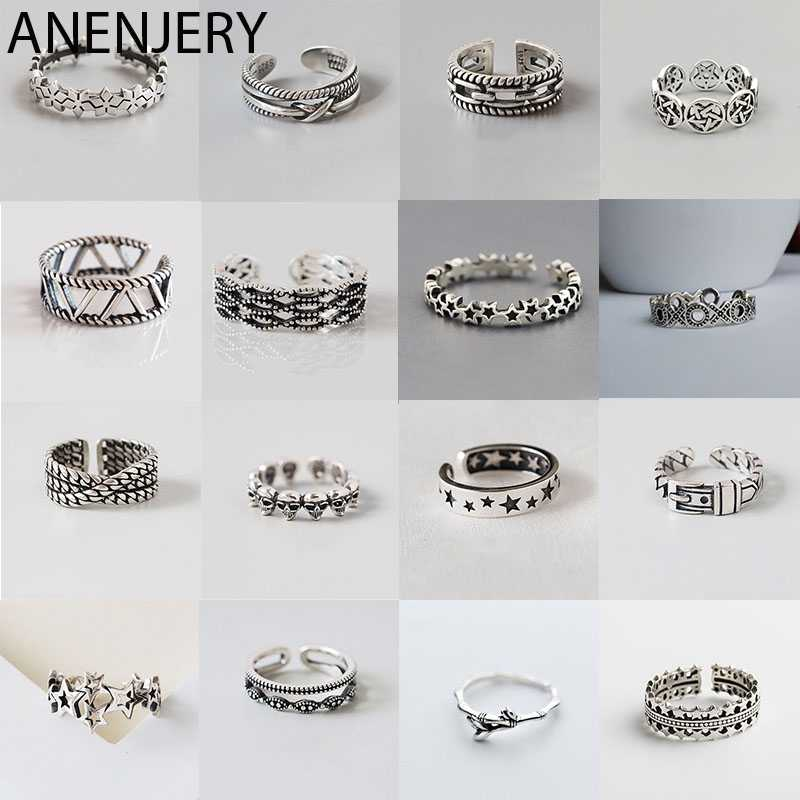 ANENJERY Multi-style Vintage 925 Sterling Silver Rings Handmade Size 18mm Adjustable Thai Silver Rings For Men Women S-R414