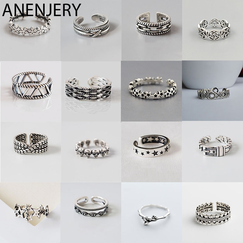 ANENJERY Multi-style Vintage 925 Sterling Silver Rings Handmade Size 18mm Adjustable Thai Silver Rings For Men Women S-R414(China)