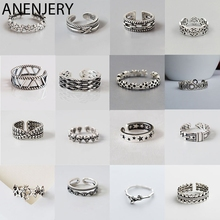 ANENJERY Multi-style Vintage 925 Sterling Silver Rings Handmade Size 18mm Adjustable Thai Silver Rings For Men Women S-R414 s925 sterling silver black onyx fine pattern vintage old thai silver men s rings