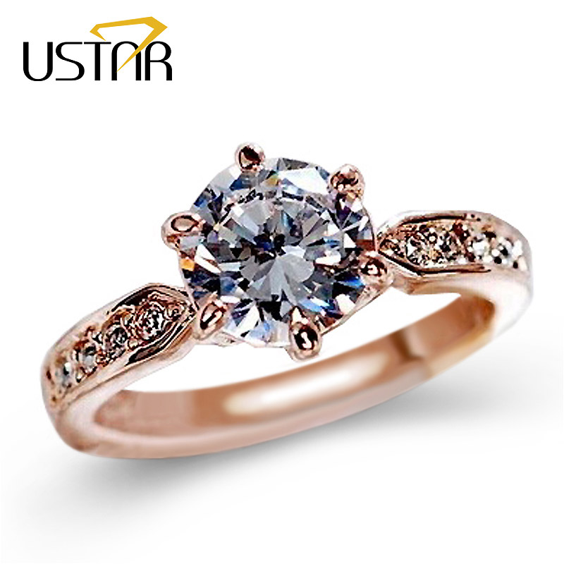 1.75ct AAA Zircon Engagement Rings for women Rose gold color Wedding rings ..
