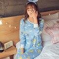 Mulheres Conjunto De Pijama Conjunto Sleepwear Lingerie Femme Mujer Feminino Coreano Bonito Rosa Longo Cheio de Mangas Compridas de Algodão Pijamas Mulheres Camisola