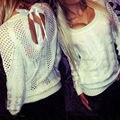 Мода твердые белые женщины пуловер осень повседневная пуловеры свитера спинки выдалбливают свитер для женщин жаккардовый трикотаж