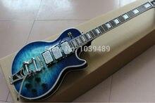 Lp kundenspezifische elektrische gitarre mit vibrato (bigsby), blau explosion freies verschiffen, hochwertigen oberkörper mit flamme luxuriöse weg