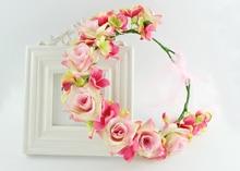 Sweet Wedding Rose Wreath Flowers Princess Headband Hair Accessories Flower crown colourful floral headpiece headband wreath