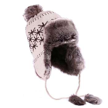 Bombardero sombrero de las mujeres de invierno ruso Ushanka lana Pom  bandera británica trampero aviador sombreros dd9e92302ed7