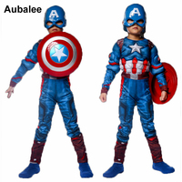Child Captain America Muscle Costume Avengers Superhero Cosplay Costume Boys Kids Halloween Fancy Dress Outfit Jumpsuit