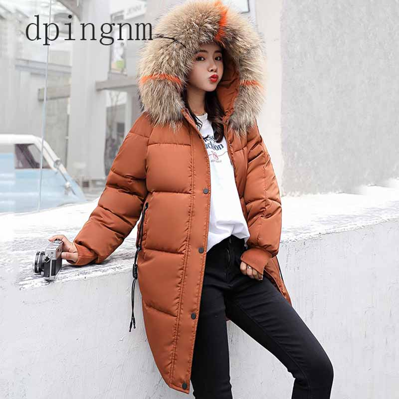 2018 Women Parkas for winter Thicken Warm Loose Jacket coats Big fur collar Hooded Casual Solid winter Cotton padded Jackets 3XL