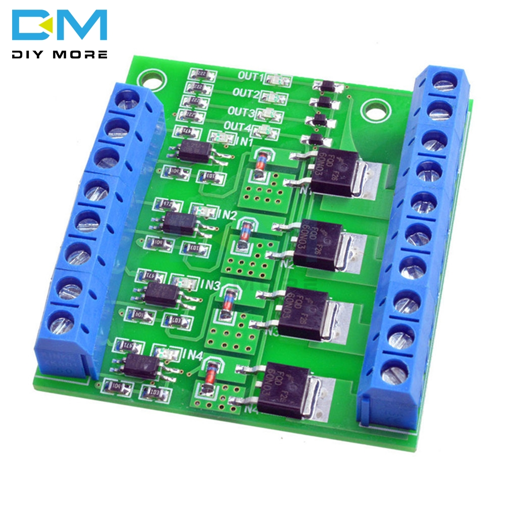 Trigger Switch Module 4-way FET MOS DC Control Board for PWM Motor Pump LED O6BS Based On FET Model F5305S PLC Interface DIY KITTrigger Switch Module 4-way FET MOS DC Control Board for PWM Motor Pump LED O6BS Based On FET Model F5305S PLC Interface DIY KIT