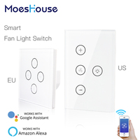 WiFi Smart Ceiling Fan Light Lamp Wall Switch Smart Life/Tuya APP Remote Various Speed Control Works with Alexa Echo Google Home