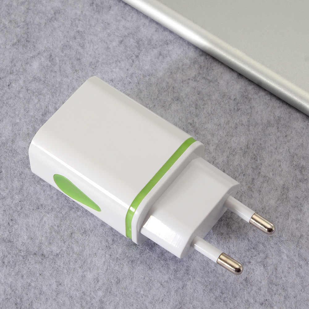 "5 V 2.1A טיפות של מים Led אור הכפול USB יציאות בארה""ב האיחוד האירופי Plug AC קיר מטען אוטומטי מהיר טעינה כוח מתאם עבור iPhone סמסונג"