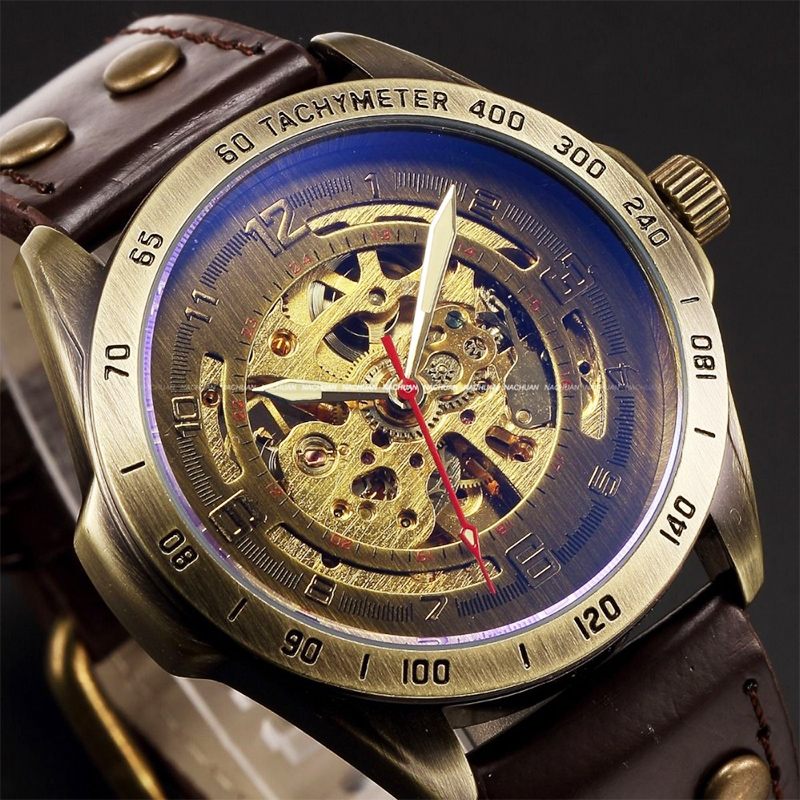 Antiguo diseño automático esqueleto reloj mecánico Vintage cuero hombres reloj esqueleto Steampunk reloj esfera azul