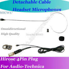 купить MICWL T42 Detachable Cable Pro Headset Microphone for Audio-Technica Wireless Hirose 4Pin connector дешево