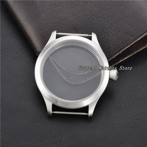 45mm 316L Sapphire Glass Stainless Steel Watch Case Kit ETA 6497 6498 Movement Wristwatch Shell