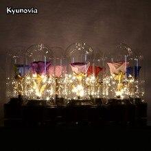 Kyunovia свежие сохранились живые розы с светодио дный свет Красота и чудовище Цветочный в Стекло День рождения украшения автомобиля KY88