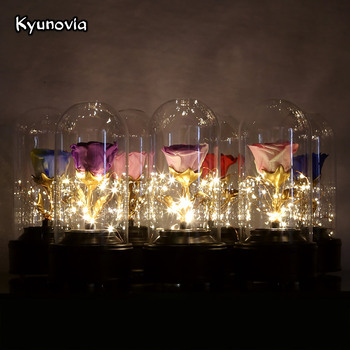 Kyunovia Fresh Preserved Real Rose Flower With LED Light Beauty and the Beast Floral in Glass Birthday Party Car Decoration KY88