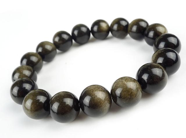 Frete Grátis 12mm Genuine Natural Ouro Obsidian Gem Stone Estiramento Pulseiras Para Mulheres Soltas Em Torno Beads Charm Bracelet Femme