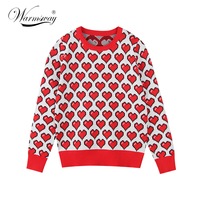 New Fashion Sweater Female Pullovers Heart Pattern Jacquard Autumn Knitted Sweaters Pullover Slim Runway Tops Jumper C 231