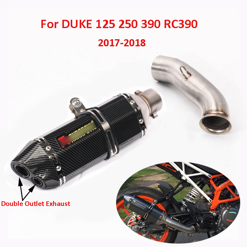 Slip on Duke 125 250 390 Motorcycle Exhaust System Dual Muffler Pipe Mid Connect Link Pipe for 2017 2018 KTM 125 250 390 Duke in Exhaust Exhaust Systems from Automobiles Motorcycles