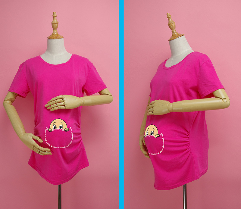 Summer Maternity Shirt High Quality Baby Pee a Boo Print Cotton Funny Maternity Shirts Gravida Top Pregnancy Clothing WUA860402