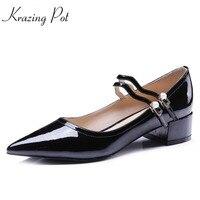 Krazing pot/из коровьей кожи с двойной пряжкой обувь со шнуровкой с острым носком на среднем каблуке женские туфли лодочки перламутровый комплек