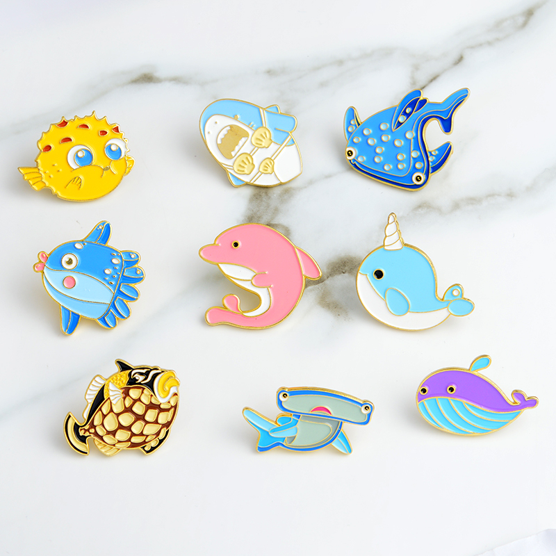 Cartoon Animal Fish Brooch and Pin Marine life Taiyaki Whale Narwhal Shark Puffer fish Octopus Dolphin Pins Buckle Lapel Pin