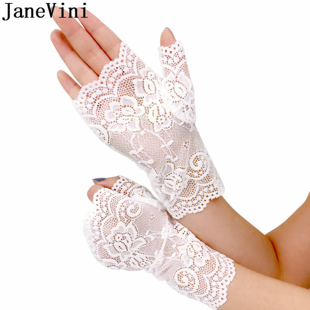 Weddings & Events Romad Bridal Gloves Lace Crystal Elegant Tulle White Ivory For Wedding Hook Finger Gloves Red White Women Wedding Accessories R4 Products Hot Sale