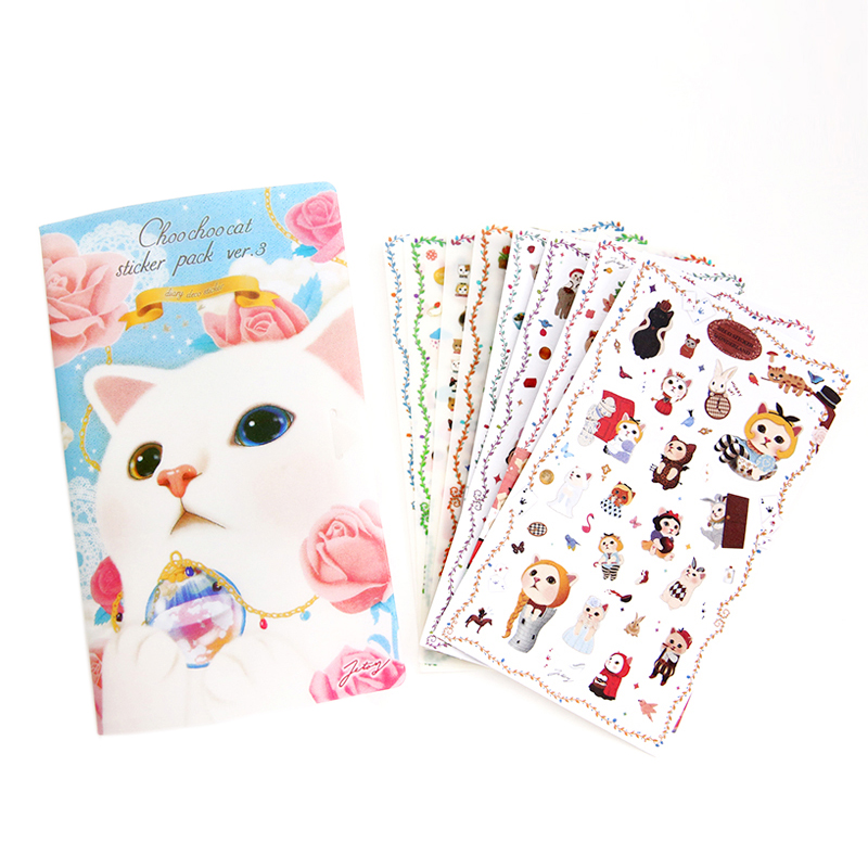 8 Sheets/set New Very Cute Cats Designs Transparent Decoration Pvc Sticker Diary Planner ...