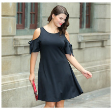 LOVEBATU Brand Black Cold Shoulder Plus Size Swing Dress plus open shoulder solid swing dress