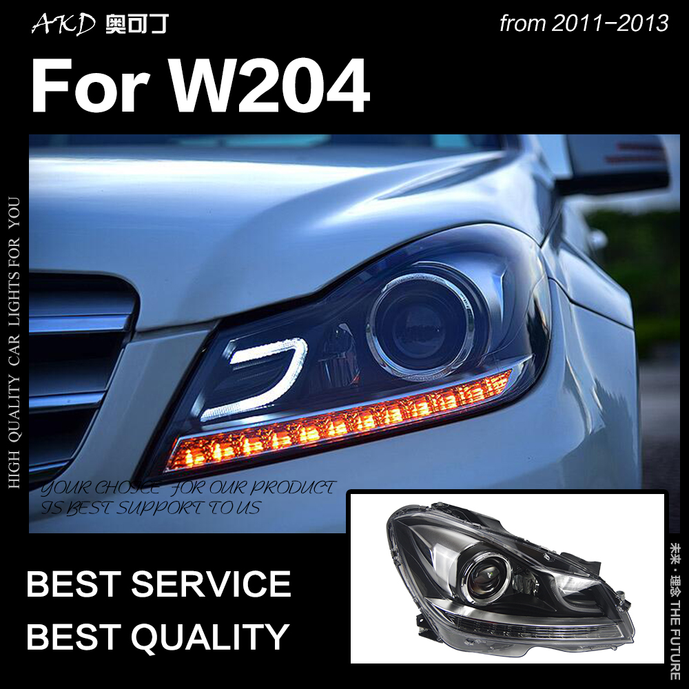 AKD Car Styling Cabeça Lâmpada para Faróis 2011-2013 C200 W204 C260 Farol DRL LEVOU Sinal Lâmpada Hid Bi xenon Auto Acessórios