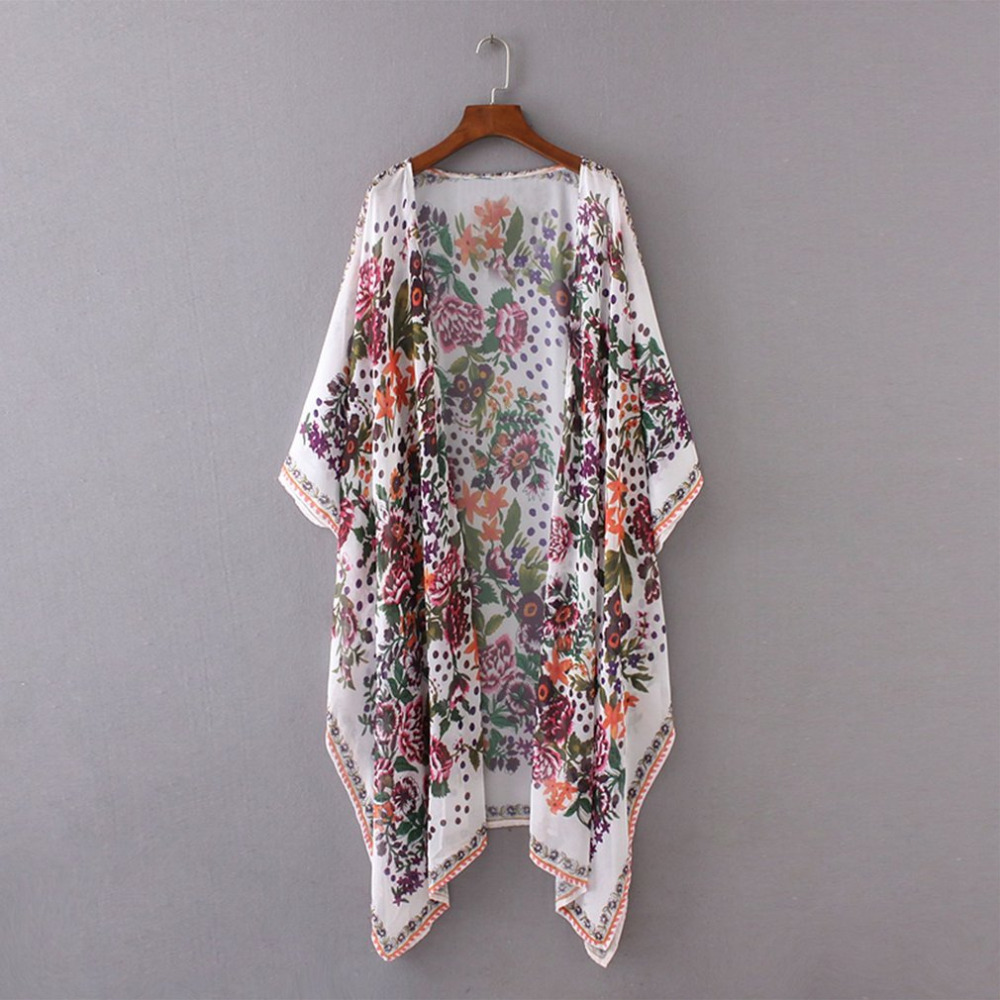 Summer Style Women Casual Loose Chiffon   Trench   Bohemian Floral Printed Long Kimono Batwing Sleeve Clothing Outerwear