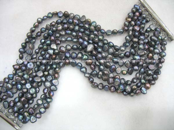 "Selling Picture wholesale 8 fancy rows 7.5"" black baroque freshwater pearl bracelet"