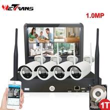 Wireless Surveillance Camera System 10.1 Inch LCD Display 4CH Wifi NVR P2P 20m IR Night Vision 720P HD Wireless CCTV System Wifi