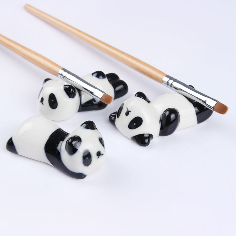 1Pc Nail Brush Pen Rack Ceramic Stand Holder Cute Panda  Nail Art Tool Random Pattern