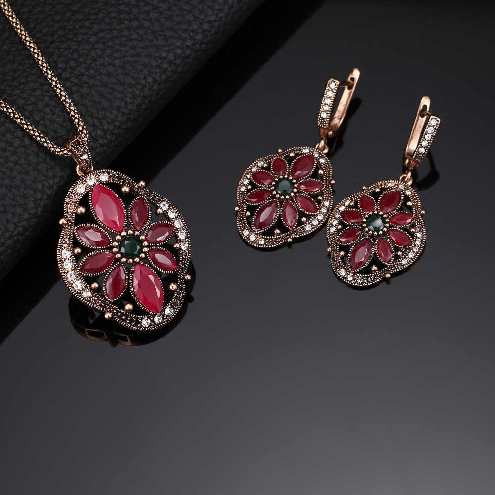 Multi Colored Crystal Resin Flower Pendant Necklace And Earrings Set For Women Antique Gold Color Vintage Jewelry Sets